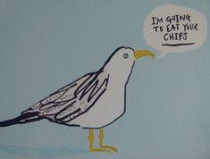 Greedy Seagull digital print of my original bird illustration. 8 x UK Children's Book Illustration, Illustration Styles, Animal Illustrations, Sea Birds, Sign Printing, Bird Prints, Bird Art, Illustrators, Digital Prints