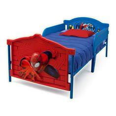 Twin Bed Frame For Kids  www.bobbiejosonestopshop.com  #BobbieJosOneStopShop #TwinBed #Frame #Headboard #Footboard #Spiderman #Bedroom #Kids #Toddler #Children #Red #Blue