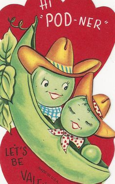 Vintage Cowboy Peas Shout Howdy POD-Ner! Anthropomorphic Valentine Card    Share on Facebook  0  Add to your eBay favorites
