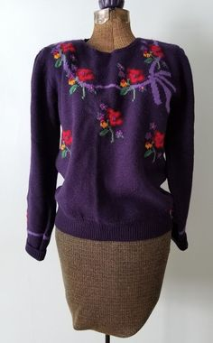 Susan Bristol Purple Hand Embroidered Floral Sweater Womens Small SOFT Wool  38 M 8549c526c8