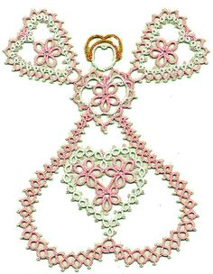 Tatted Valentine angel by Martha Ess (with pattern)