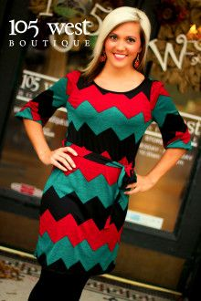 """""""Samantha"""" Chevron Dress in Red.  Great dress for Christmas pictures or parties!  105 West Boutique located in Abbeville, SC.  (864) 366-WEST.  Available in store and online.  Look for us on Facebook."""