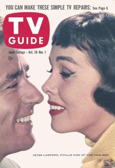 """TV Guide, October 26, 1957 - Peter Lawford and Phyllis Kirk of """"The Thin Man"""""""