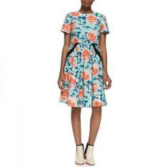 40% off Marc by Marc Jacobs - Poplin Dress Multi Jerrie Rose Print Pale Jade - $298.00
