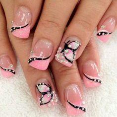 BUTTERFLIES AND PINK Polish #nails #nailart #frenchmani #nude - bellashoot.com