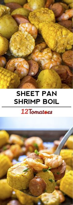 Sheet Pan Shrimp Boil - A true shrimp boil can be kind of an ordeal what with the gigantic pot and the outdoor mess, but our sheet pan version of the summer favorite makes an easy weeknight meal of it! Fish Recipes, Seafood Recipes, Great Recipes, Cooking Recipes, Favorite Recipes, Healthy Recipes, Cajun Recipes, Delicious Recipes, Recipies