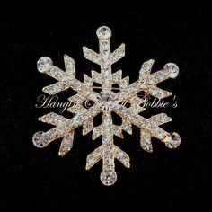 Snowflake Pin Brooch Clear Crystal Goldtone Metal Winter Style 4815 #nobrand