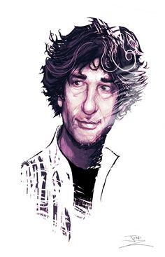 portrait of author Neil Gaiman Naughty Librarian, The Graveyard Book, Amanda Palmer, Dark Comics, Best Authors, American Gods, Neil Gaiman, Geek Girls, Games For Girls