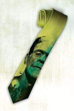 Frankenstein on mens tie Green gothic necktie by tiestory