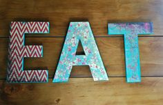 EAT sign rustic kitchen letters by RachelsHomemadeHome on Etsy