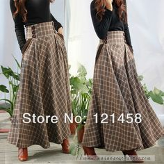 Plus Size Autumn Winter Warm Casual Vintage Style Higher Waist Plaid Wool Long Skirts / Pocket Pleated Woolen Womens Maxi Skirt