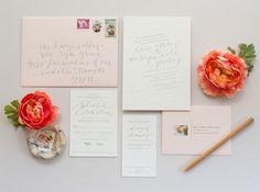 Romantic Blush & Grey Wedding Invitations by Coral Pheasant