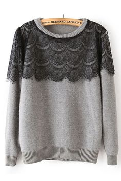 Lace Contrast Fashion Sweater in Grey