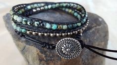 3 wrap genuine leather beaded bracelet with silver ornate closure. by GingerBlossomStudio on Etsy