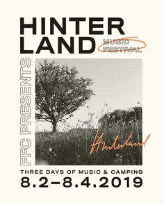 Hinterland Music Festival Poster I by Craft and Curate I This poster design features clean san serif typography with modern photography and hand drawn touches. #cleantypography #typefaceinspiration #fontinspiration #typographyposter