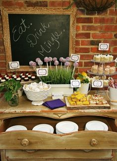 Perfect garden buffet..Check out the site this came from.  Great entertaining ideas