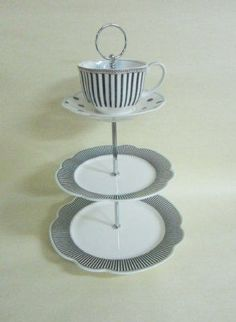 "Tea Cup 3-Tier Cake Stand Scallop Navy 3 tier tray, 9.5"" 7.5"" plate and 8 oz tea cup saucer"