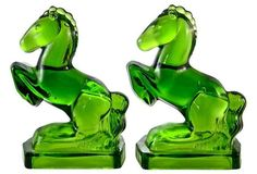 1920s Emerald Glass Horse Bookends