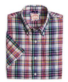 Cotton Multiplaid Short-Sleeve Sport Shirt - Brooks Brothers