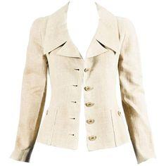 Vintage Chanel 94P Tan Linen Gold Tone 'CC' Button Jacket SZ 36 | 1stdibs.com
