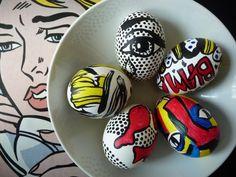 DIY Roy Lichtenstein painted easter eggs