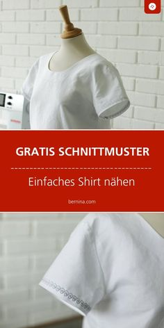 Fantastic No Cost sewing dresses simple Thoughts Einfache Bluse nähen: kostenloses Schnittmuster Sewing Patterns Free, Free Sewing, Dress Patterns, Free Pattern, Pattern Sewing, Belted Shirt Dress, Tee Dress, Shirt Diy, Sewing Shirts