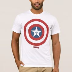Captain America Flat Color Shield T-Shirt - Captain America: Civil War Captain America Symbol, Superhero Gifts, Captain America Civil War, Flat Color, Marvel Movies, Shirt Style, Shirt Designs, Blue Colors, Avengers