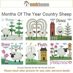 Months Of The Year Country Sheep Machine Embroidery by embhome