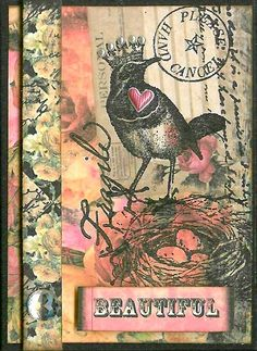 Nostalgic Collage': ATC - A Bird's Journal Atc Cards, Bird Cards, Card Tags, Journal Cards, Junk Journal, Paper Art, Paper Crafts, Art Trading Cards, Scrapbooking