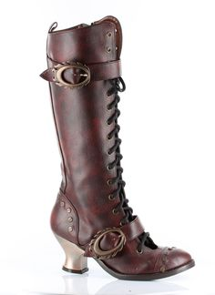Hades Shoes Burgundy Womens Vintage Knee High Boots 53350