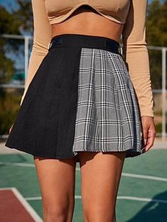 Tartan Panel Splice Pleated Skirt | SHEIN USA Moda Outfits, Cute Outfits, Pleated Skirt, High Waisted Skirt, Fashion Bella, Fashion Drawing Dresses, Tumblr Outfits, New Wardrobe, Formal