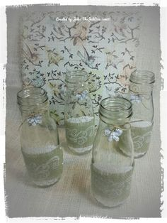 Simple and pretty altered Starbucks bottles for a birthday party table!