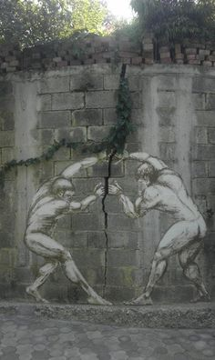 street art breaking the wall