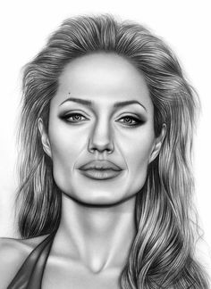 Angelina Jolie by AdamAlexisRyan on DeviantArt Realistic Sketch, Realistic Pencil Drawings, Dark Art Drawings, Art Drawings Beautiful, Pencil Art Drawings, Art Drawings Sketches, Cool Drawings, Horse Drawings, Drawing Art
