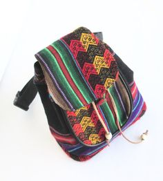 Tribal fanny pack/ Boho hip bag/ Upcycled utility by EcoClutch