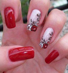 "5085918ef39 Suellen Cristina on Instagram  ""♥ Unhas Carimbadas ♥ ♥ Esmalte Vult –  Cereja Flor ♥ ♥ Esmalte La Femme – Carimbo Branco ♥ ♥ Esmalte Lorena – Mega  ..."