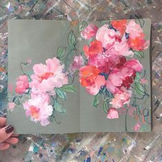 One of my favorite exercies at the Arts University was doing tiny paint sketches. I loved my painting sketchbook and even though paint wasn't ever my medium of choice (I might be terrible at it!), it really helped me get better at illustrating! Kunstjournal Inspiration, Sketchbook Inspiration, Art Sketchbook, Acrylic Painting Flowers, Abstract Flowers, Peony Painting, Art Sketches, Art Drawings, Flower Art