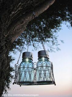 mason jar solar lights ball jars in hanging basket by treasureagain ball mason jar solar lights