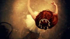 (.gif) Love this perspective! (bright red hair, twirling, swirling, spinning, crown, girl, young woman, white dress)