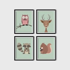 Printable Baby Nursery Print. Art set of 4 Cute animals. Art prints download - skunk, owl, squirrel, raccoon print set for your child room. Having a baby usually means having to decorate a nursery for your little one. This animal nursery print would make a lovely nursery decor or kids room decor. We will help you by providing unique Nursery Art Prints to compliment your decor style and add a unique feature or focal point to an empty wall. ✭ ✭ ✭ PRINT IT & FRAME IT YOURSELF! ✭ ✭ ✭ Print…