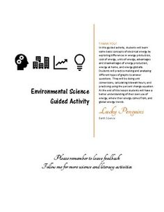 This is a student guided activity that leads students through three sections in their understanding of energy.  The first section lets them explore their individual energy use.  In this section students graph energy consumption, convert units of energy, and do cost analysis of some every day appliances.