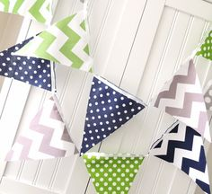 Bunting Banner Fabric Pennant Flags Green by vintagegreenlimited Pennant Flags, Flag Banners, Wedding Cake Bunting, Birthday Garland, Hanging Banner, Cake Smash Photos, White Ribbon, Diy Party, Baby Boy Shower