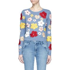 Alice + Olivia 'Lucca' floral embroidered sweater ($395) ❤ liked on Polyvore featuring tops, sweaters, blue top, cropped sweater, blue crop top, alice olivia top and blue cropped sweater