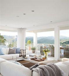 Indoor/outdoor room with white columns.