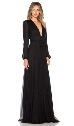 JILL JILL STUART Deep V Maxi Dress in Black | REVOLVE