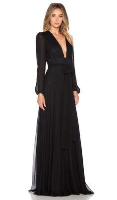 JILL JILL STUART Deep V Maxi Dress in Black | REVOLVE