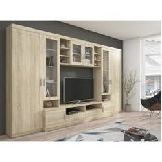 Shipley Heights Entertainment Unit Metro Lane Colour: Brown/White, With lighting: No Tv Unit Furniture, Home Furniture, Furniture Design, Living Room Tv Unit Designs, Tv Wall Decor, Muebles Living, Tv Wall Design, Bedroom Storage, The Unit