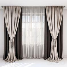 Шторы с подхватом - кистью и прямые шторы в коричнево-бежевых тонах.