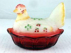 "FENTON ART GLASS Hand Painted 5"" Hen on Nest satin ivory/ruby artist M. Workman"