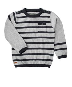 Grey Stripey Knitted Top - Toddler & Boys